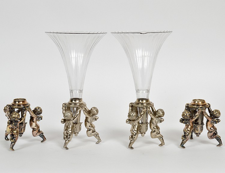 PAIR OF CONTINENTAL SILVERED METAL & GLASS FIGURAL VASES