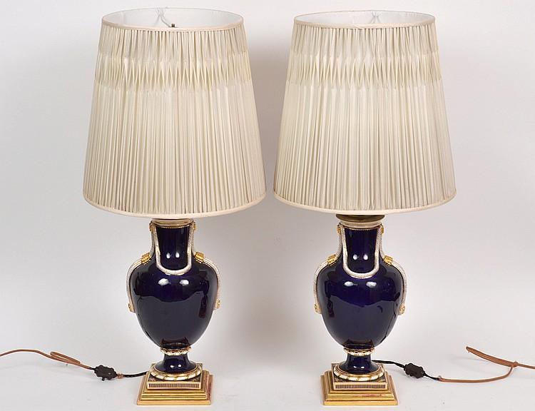 PAIR OF GERMAN COBALT GROUND PORCELAIN LAMPS