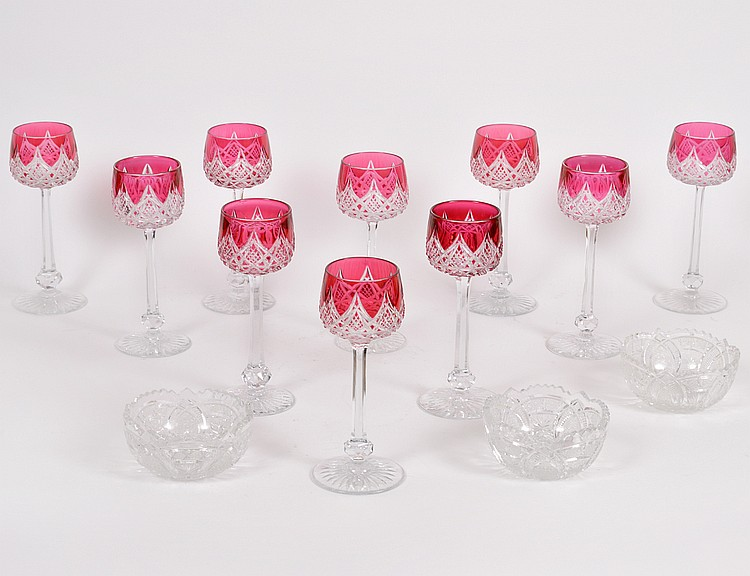 TEN BACCARET RED OVERLAID CUT GLASS WHITE WINES