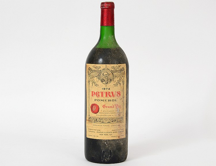 A RARE FRENCH 1974 PETRUS MAGNUM RED WINE BOTTLE