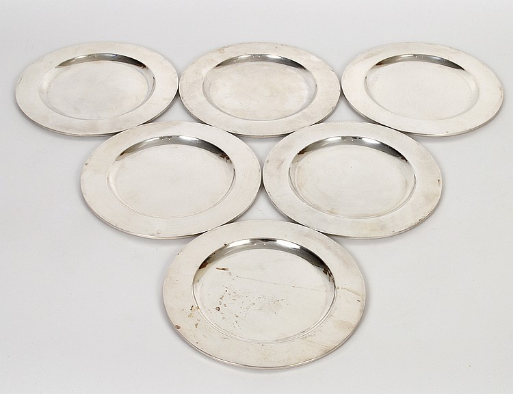 SET OF SIX MEXICAN SANBORNS STERLING SILVER BREAD PLATES