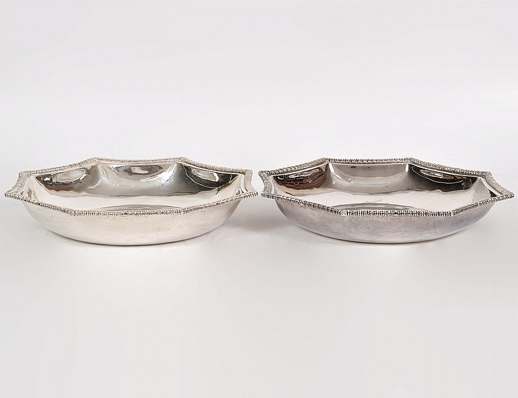 PAIR OF MEXICAN ORTEGA STERLING SILVER BOWLS