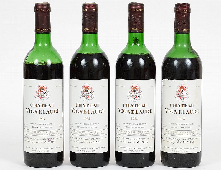 FOUR VINTAGE FRENCH 1983 CHATEAU VIGNE LAURE RED WINE BOTTLES