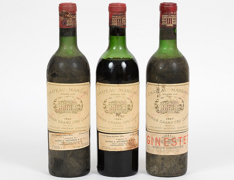 THREE FRENCH CHATEAU MARGAUX RED WINE BOTTLES