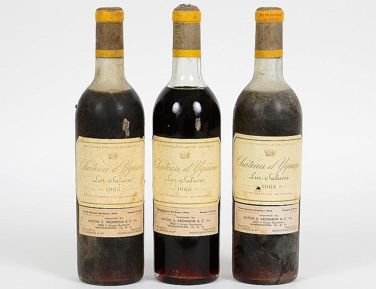 THREE FRENCH 1965 CHATEAU Y'QUEM VINTAGE WINES