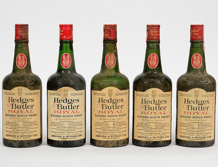 FIVE BOTTLES HEDGES & BUTLER SCOTCH WHISKEY