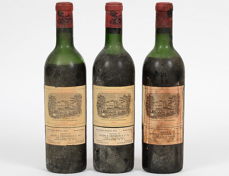 THREE FRENCH 1964 CHATEAU LAFITTE ROTHSCHILD RED WINE BOTTLES