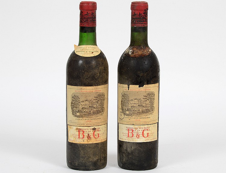 TWO FRENCH 1966 CHATEAU LAFITTE ROTHSCHILD RED WINE BOTTLES