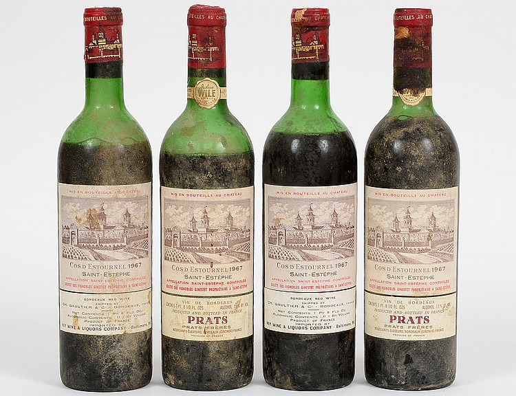 FOUR VINTAGE FRENCH 1967 COS D'ESTOURNEL RED WINES