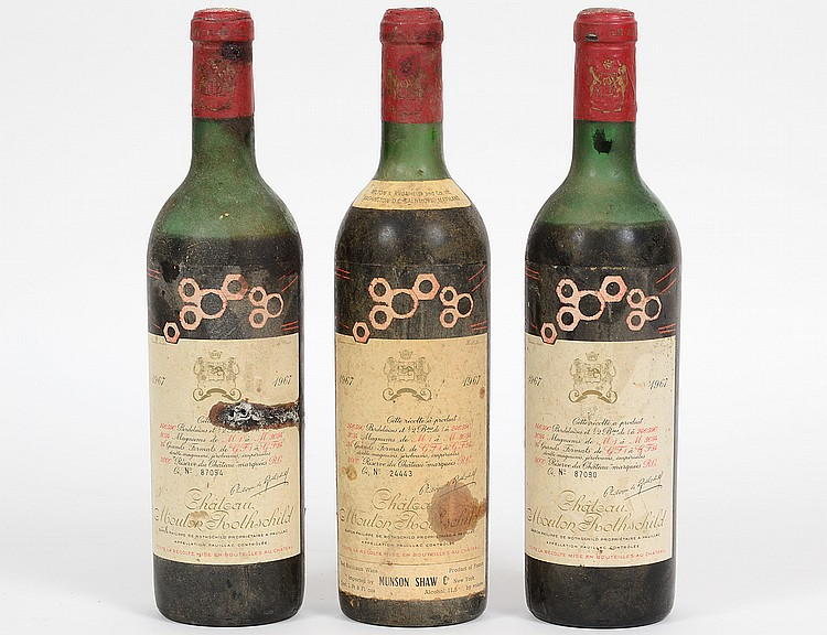 THREE FRENCH 1967 CHATEAU MOUTON ROTHSCHILD RED WINE BOTTLES