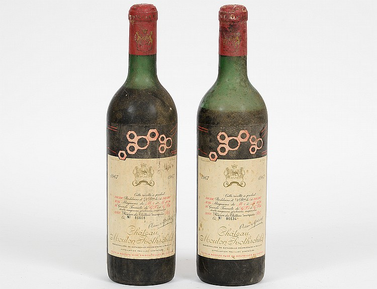 TWO FRENCH 1967 CHATEAU MOUTON ROTHSCHILD RED WINE