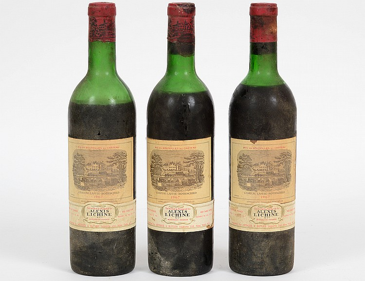 THREE FRENCH 1967 CHATEAU LAFITTE ROTHSCHILD RED WINE BOTTLES