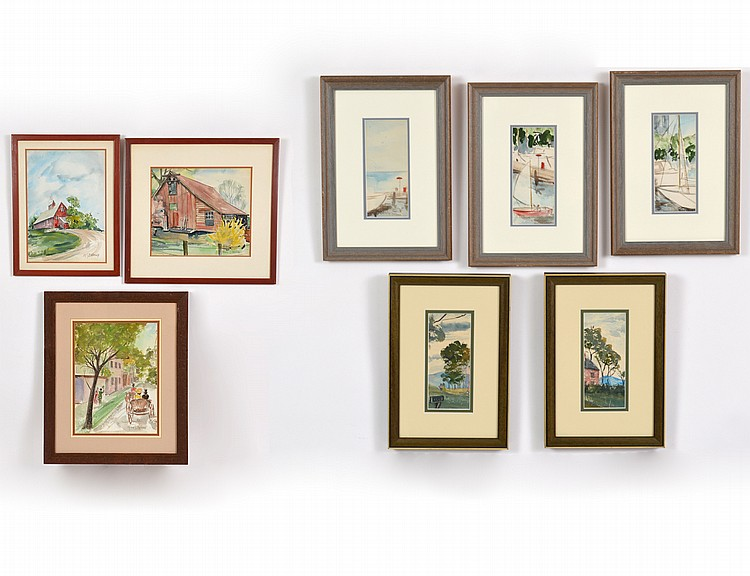 GROUP OF EIGHT AMERICAN WATERCOLOR PAINTINGS BY HELEN BELNAP (1899-1961)