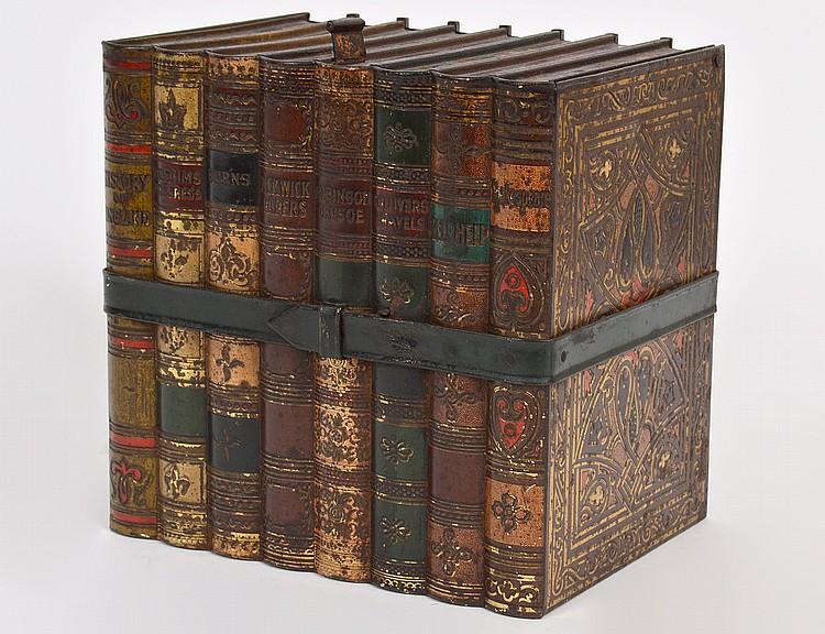 VICTORIAN TOLE PEINTE 'BOUND BOOKS' BISCUIT TIN