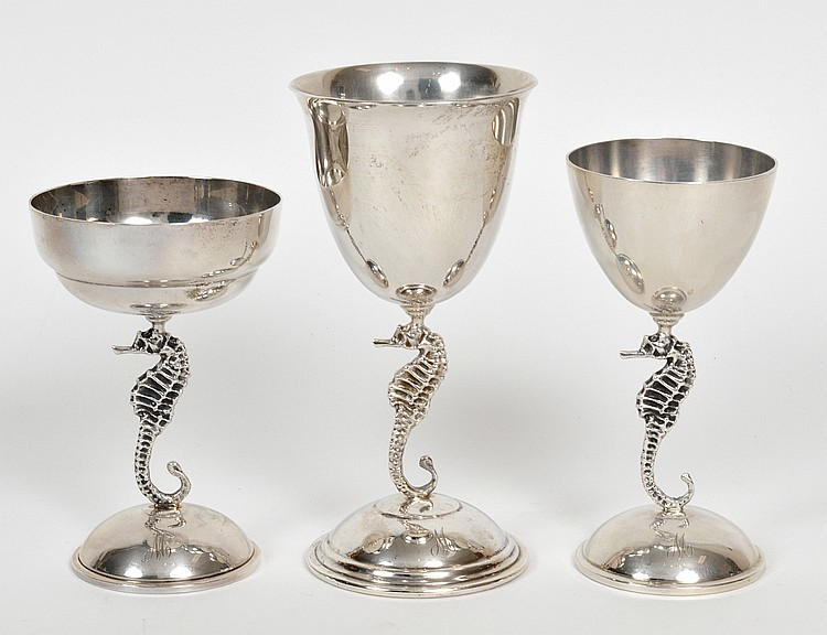 THIRTY-SIX PIECE STERLING SILVER 'SEAHORSE' DRINKS SERVICE