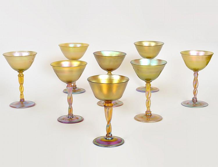 EIGHT TIFFANY IRIDESCENT GOLD GLASS WINES