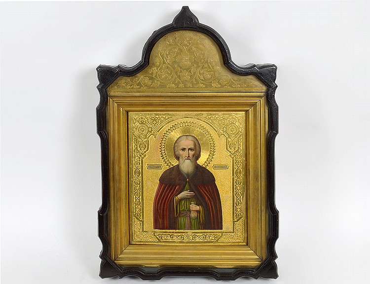 RUSSIAN ICON, ST. PHILARET THE MERCIFUL IN A KYOT