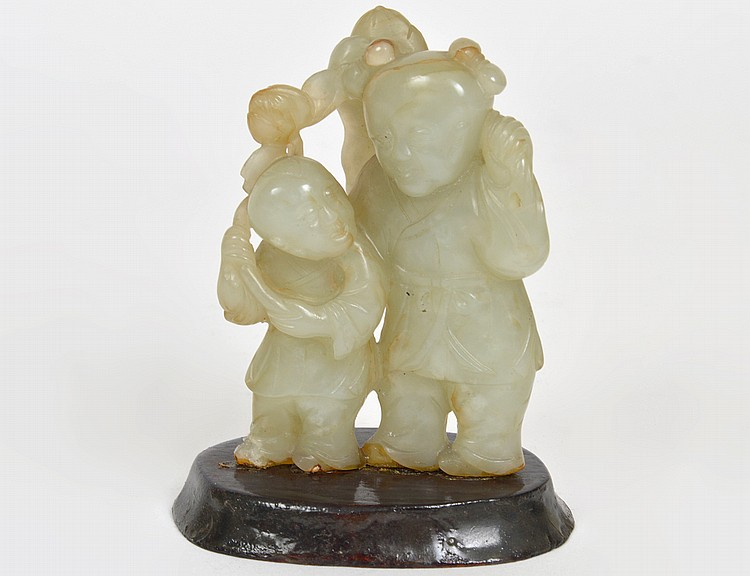 CHINESE CELADON JADE FATHER AND SON GROUP