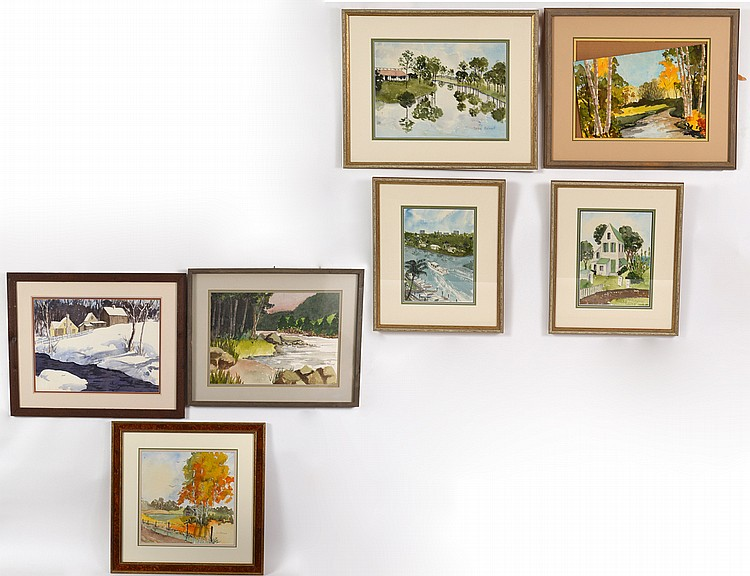 GROUP OF SEVEN AMERICAN WATERCOLOR PAINTINGS BY HELEN BELNAP (1899-1961)