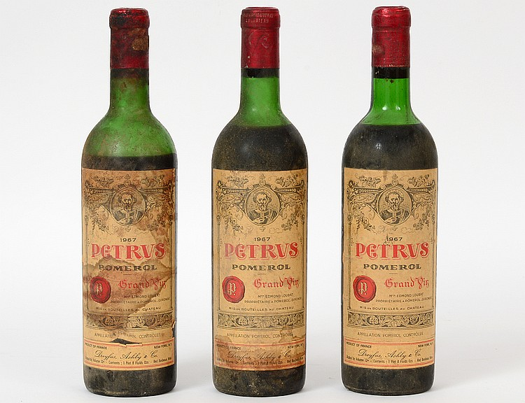 THREE FRENCH 1967 PETRUS POMEROL RED WINE BOTTLES