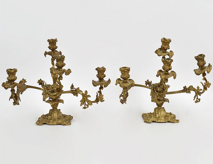 PAIR OF LOUIS XV STYLE GILT BRONZE FOUR LIGHT CANDELABRA