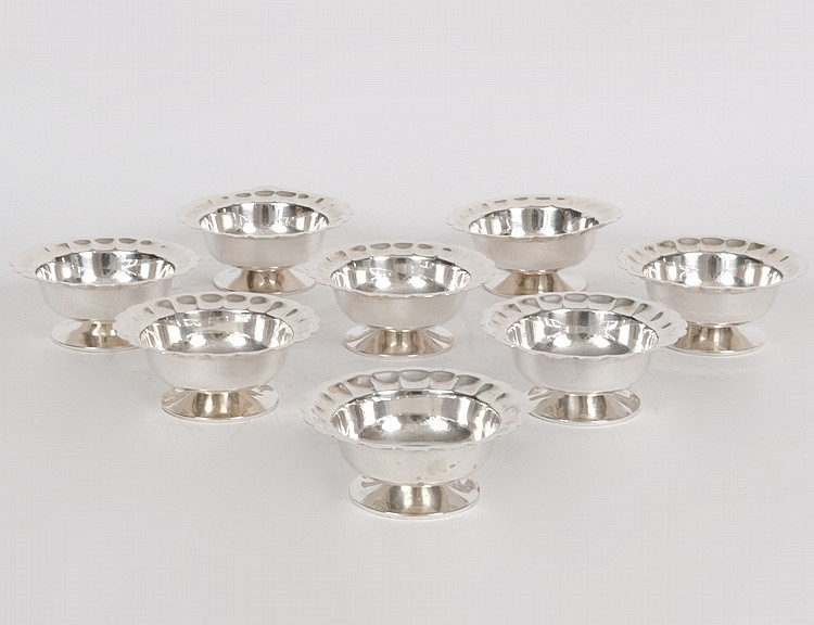 SET OF EIGHT MEXICAN SANBORNS STERLING SHERBETS