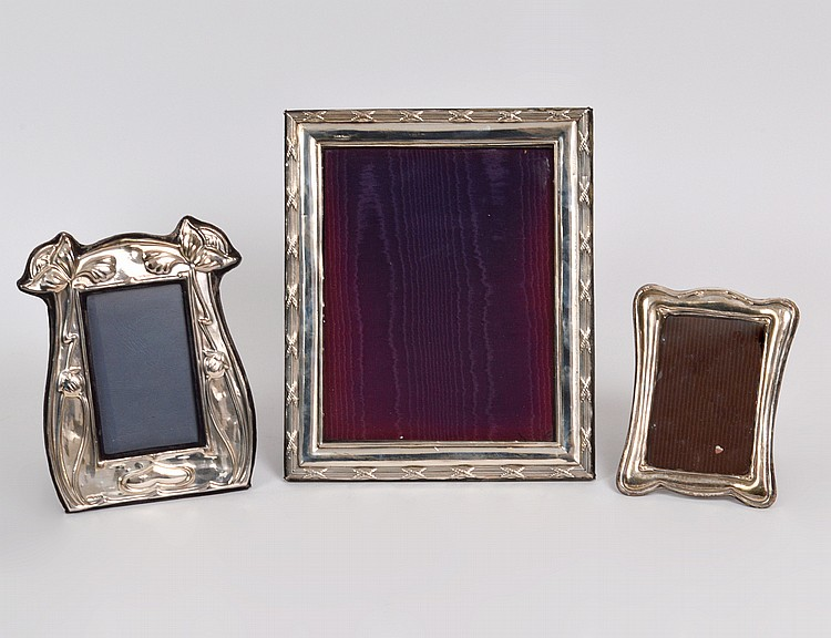 THREE STERLING SILVER PICTURE FRAMES