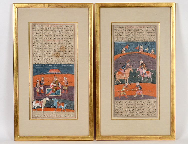 PAIR OF IMPRESSIVE PERSIAN PAINTED FOLIO PAGES