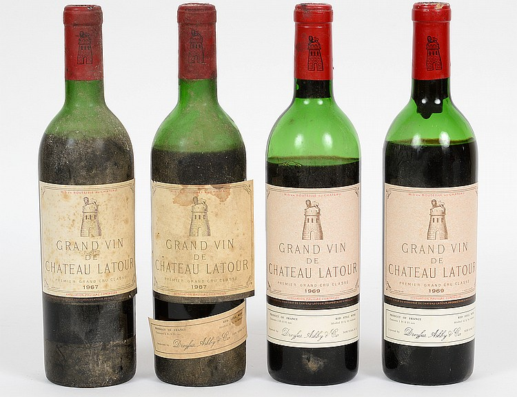 FOUR FRENCH CHATEAU LATOUR RED WINE BOTTLES