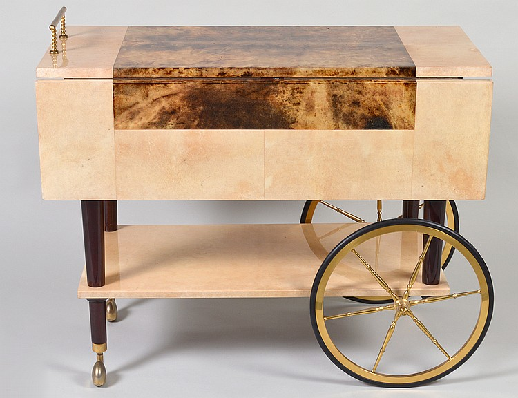 GOAT SKIN COVERED TWO-TIER DROP LEAF TROLLEY
