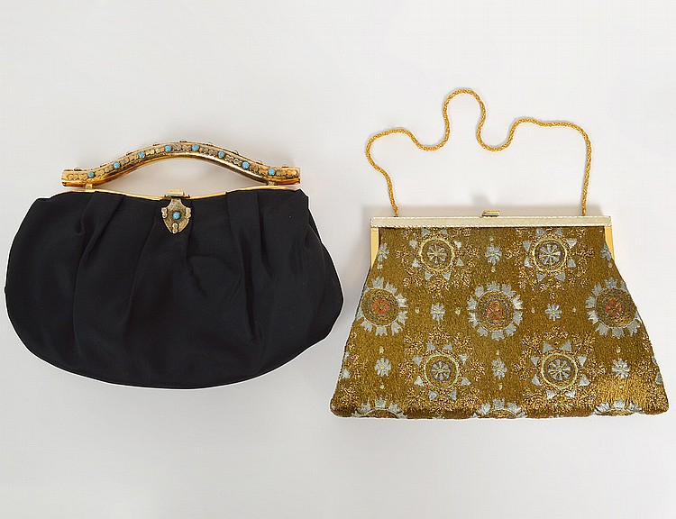 VINTAGE EUROPEAN GOLD & SILVER THREAD EMBROIDERED BAGS