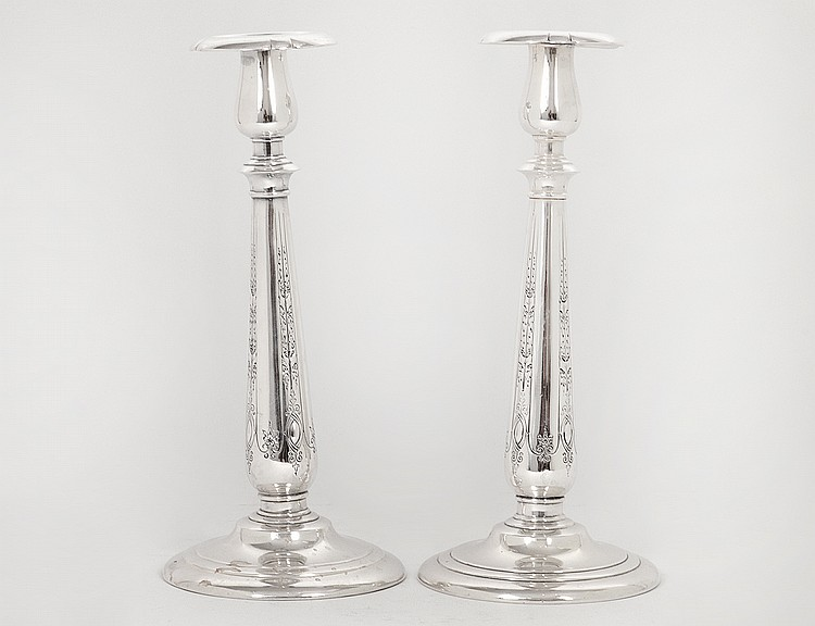 "PAIR OF AMERICAN STERLING SILVER ""LADY DIANA"" CANDLESTICKS"