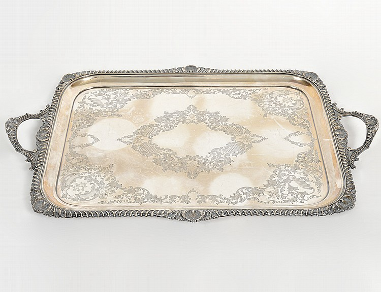VICTORIAN SHEFFIELD SILVER PLATE TWO-HANDLED TRAY