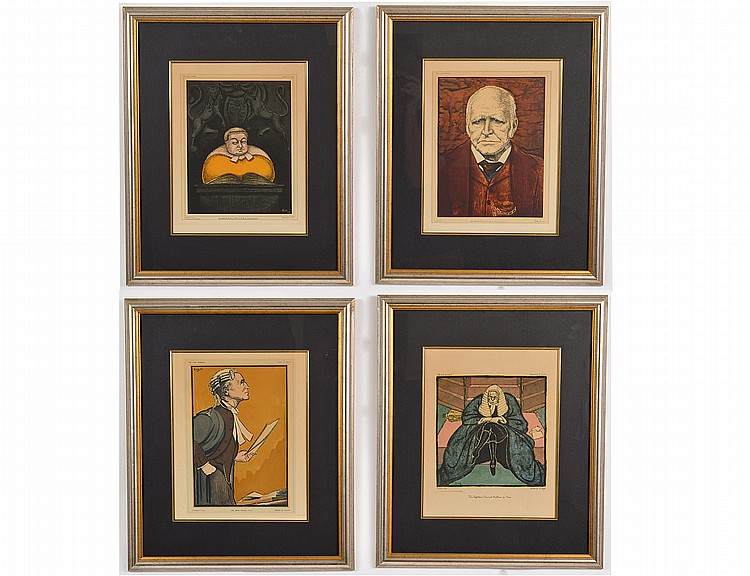 GROUP OF FOUR SATYRICAL COLOR WOODCUTS OF JUDGES & LAWYERS