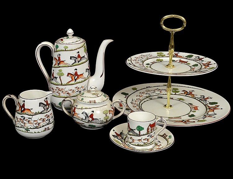 ENGLISH EQUESTRIAN PAINTED PORCELAIN COFFEE SERVICE