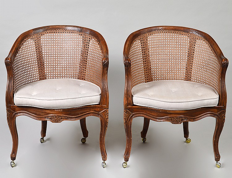 PAIR OF LOUIS XV STYLE CANED OAK TUB CHAIRS