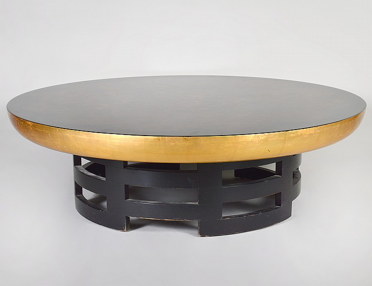 MID CENTURY LACQUERED WOOD CIRCULAR LOW TABLE