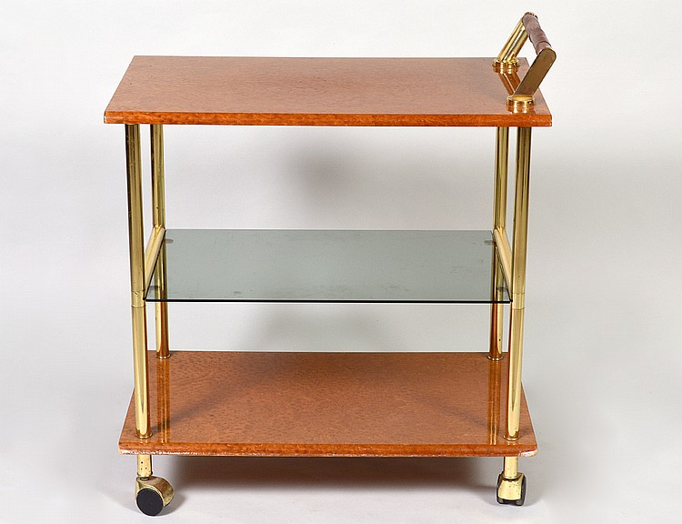 CONTEMPORARY BURL WOOD AND BRASS TROLLEY