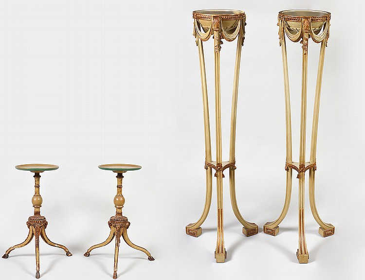 PAIR OF ITALIAN NEO-CLASSICAL TORCHERE & PAIR OF LOW TABLES