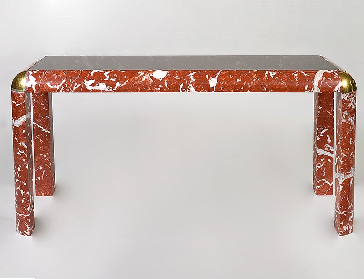 CONTEMPORARY MARBLE AND BRASS CONSOLE