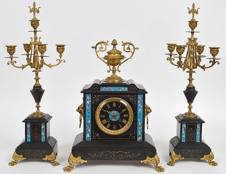 FRENCH BLACK MARBLE THREE-PIECE CLOCK GARNITURE
