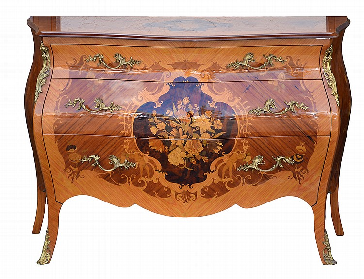 LOUIS XV STYLE MARQUETRY TULIPWOOD COMMODE