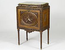 LOUIS XVI STYLE ONYX TOP CARVED CABINET