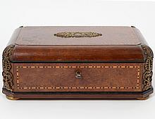 BRONZE MOUNTED INLAID AMBOYNA WOOD BOX