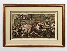 ANTIQUE HAND COLORED COPPER ENGRAVING WITH AQUATINT