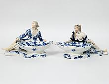 PAIR OF MEISSEN PORCELAIN FIGURAL SWEET MEAT DISHES