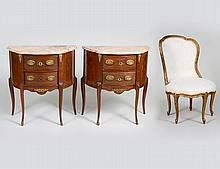 PAIR OF FRENCH PETITE COMMODES AND A SLIPPER CHAIR