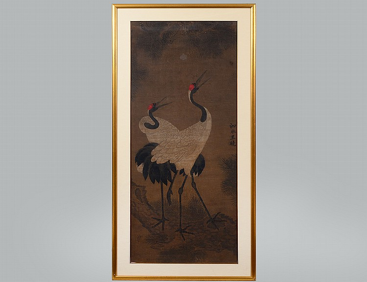 Antique japanese painting on silk of two cranes for Asian antiques west palm beach