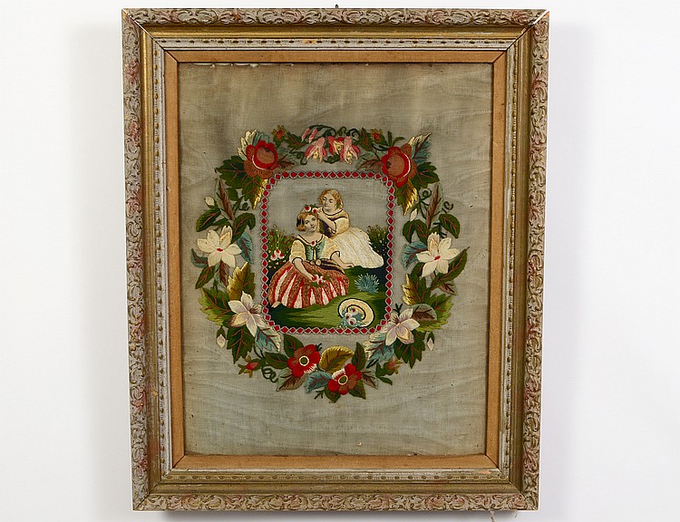 Victorian framed needlepoint picture for Arland decoration