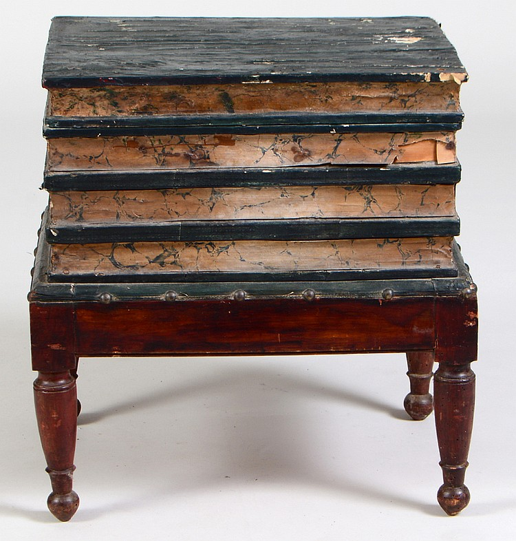 Victorian Painted Wood Book Table Stool